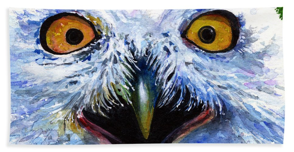 Eye Hand Towel featuring the painting Eyes of Owls No. 15 by John D Benson