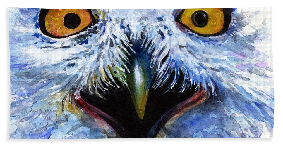 Eye Bath Towel featuring the painting Eyes Of Owls No. 15 by John D Benson