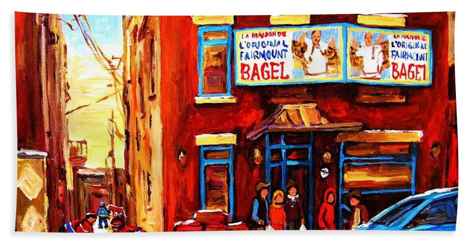 Hockey Hand Towel featuring the painting Fairmount Bagel In Winter by Carole Spandau