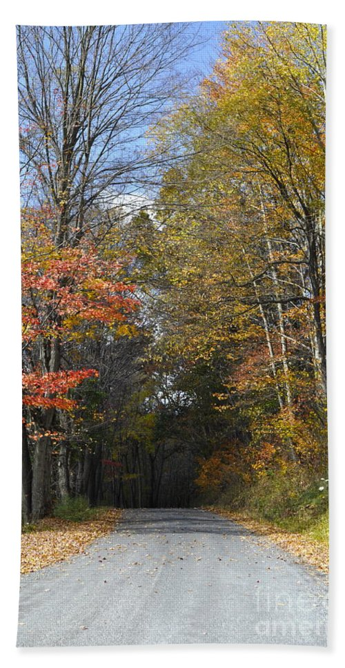 Fall Scene Bath Sheet featuring the photograph Fall Lane by Penny Neimiller