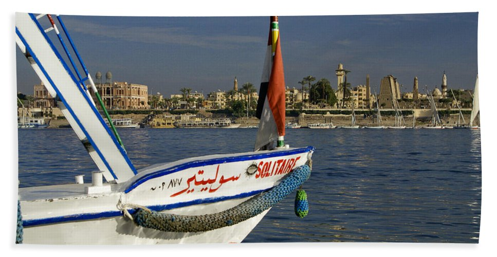 Egypt Hand Towel featuring the photograph Felucca On The Nile by Michele Burgess