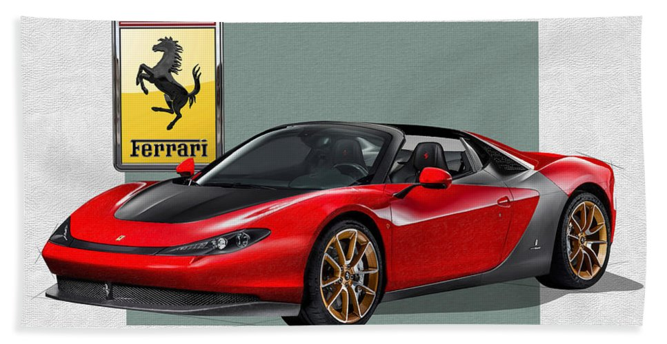 �ferrari� Collection By Serge Averbukh Bath Towel featuring the photograph Ferrari Sergio with 3D Badge by Serge Averbukh