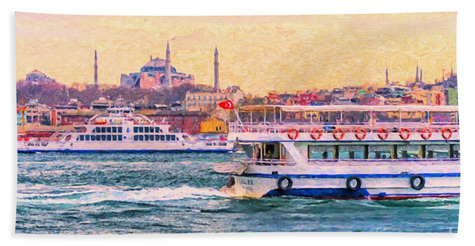 Digital Hand Towel featuring the painting Ferry Traffic On The Bosphorus by Antony McAulay
