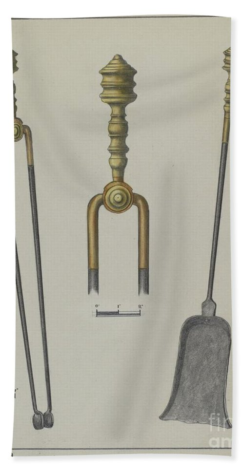 Hand Towel featuring the drawing Fire Tongs And Shovel by Hans Korsch