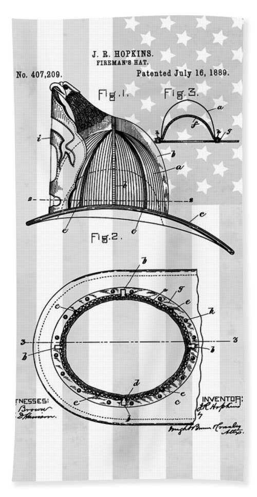 American Firefighter's Helmet Bath Sheet featuring the drawing Fireman's Helmet Patent by Dan Sproul