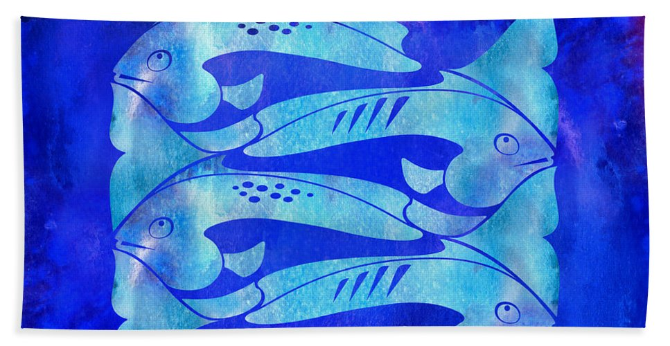 Fish Bath Sheet featuring the mixed media 1 Fish 2 Fish by Paul Gaj