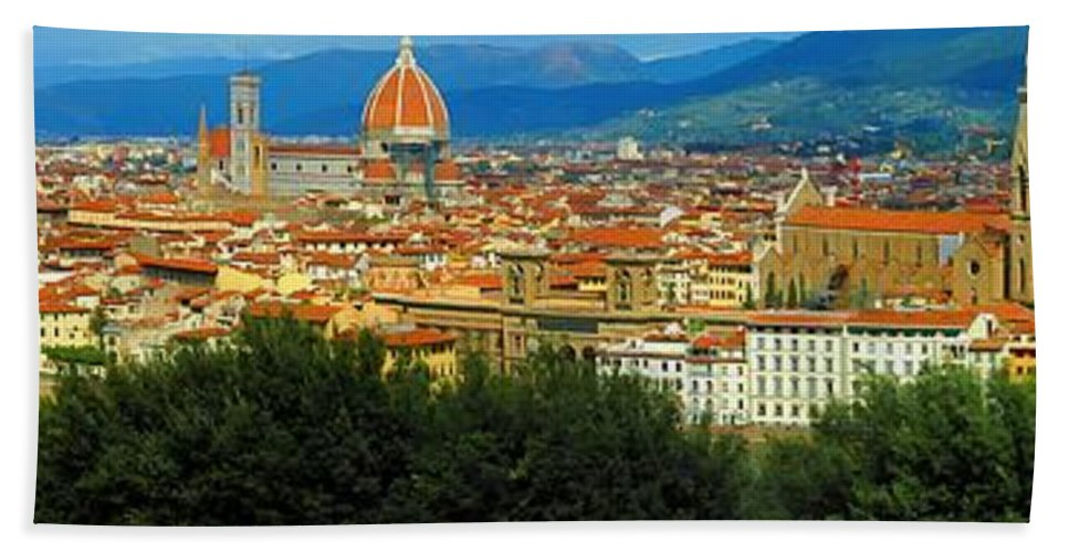 Hand Towel featuring the photograph Florence, Italy Panoramic by Mike Nellums