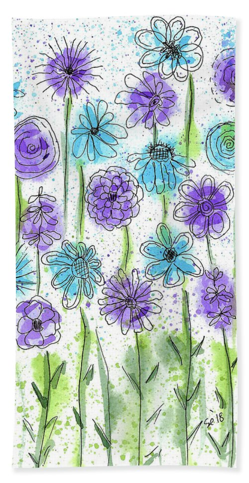 Watercolor And Ink Hand Towel featuring the painting Flower Fantasy by Susan Campbell