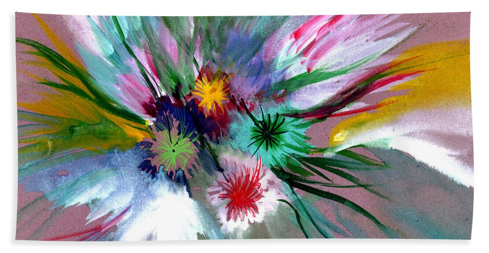 Flowers Bath Towel featuring the painting Flowers by Anil Nene