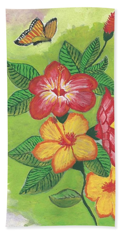 Flowers Bath Sheet featuring the painting Flowers For My Soul by Ruben Cano