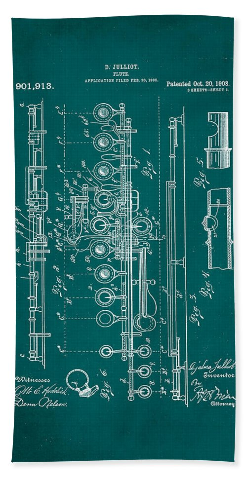 Patent Hand Towel featuring the mixed media Flute Patent Drawing 2f 1 by Brian Reaves
