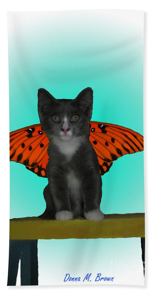Animal Bath Sheet featuring the photograph Flying Kitty by Donna Brown