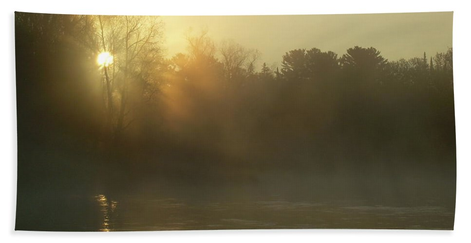 Mississippi River Hand Towel featuring the photograph Foggy Mississippi River Sunrise by Kent Lorentzen