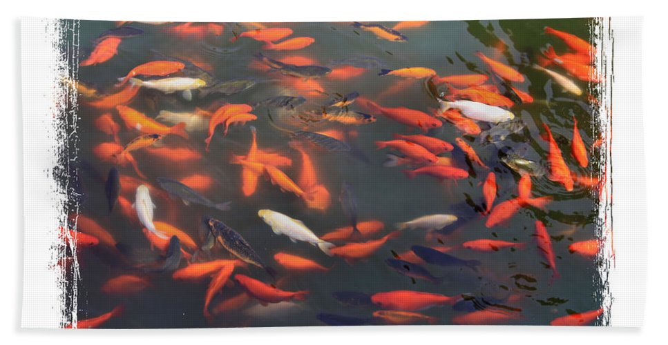 Koi Bath Sheet featuring the photograph Koi Pond With Framing by Carol Groenen