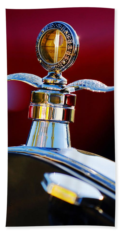 Hood Ornament Hand Towel featuring the photograph Ford Boyce Motometer by Jill Reger