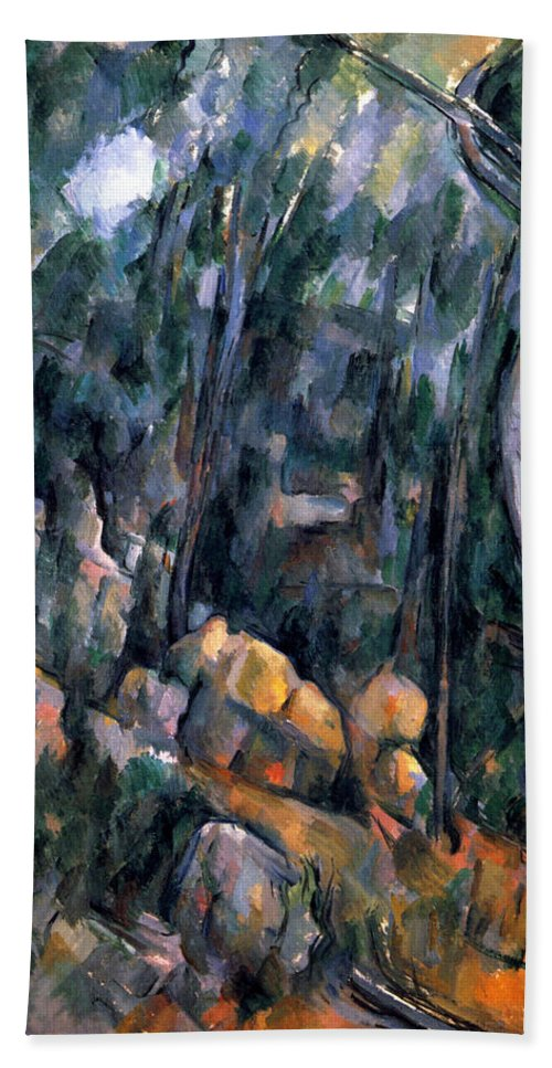 Europe Hand Towel featuring the painting Forest In The Caves Above The Chateau Noir by Paul Cezanne