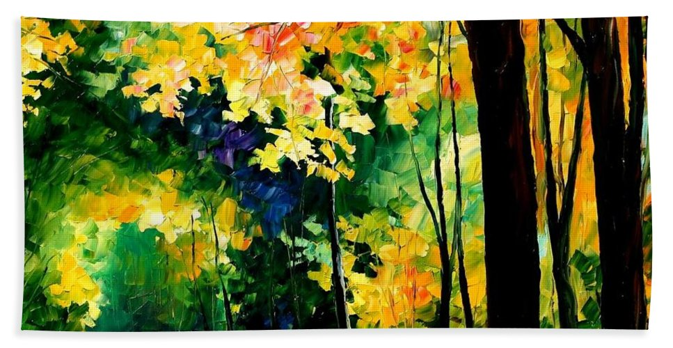 Landscape Bath Sheet featuring the painting Forest by Leonid Afremov