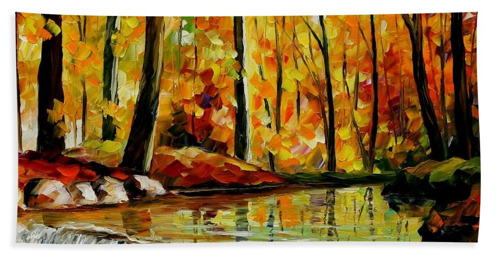 Afremov Bath Sheet featuring the painting Forest Stream by Leonid Afremov