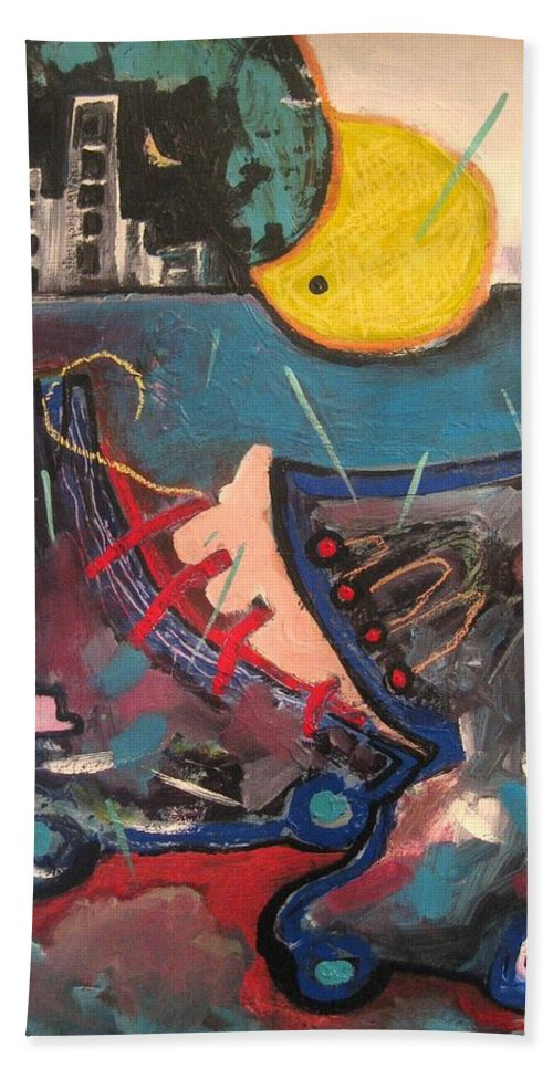 Abstract Paintings Hand Towel featuring the painting Forgotten Days by Seon-Jeong Kim
