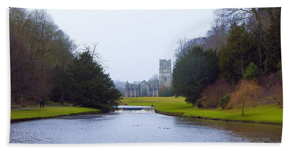 Castle Hand Towel featuring the photograph Fountains Abbey Lake by Svetlana Sewell