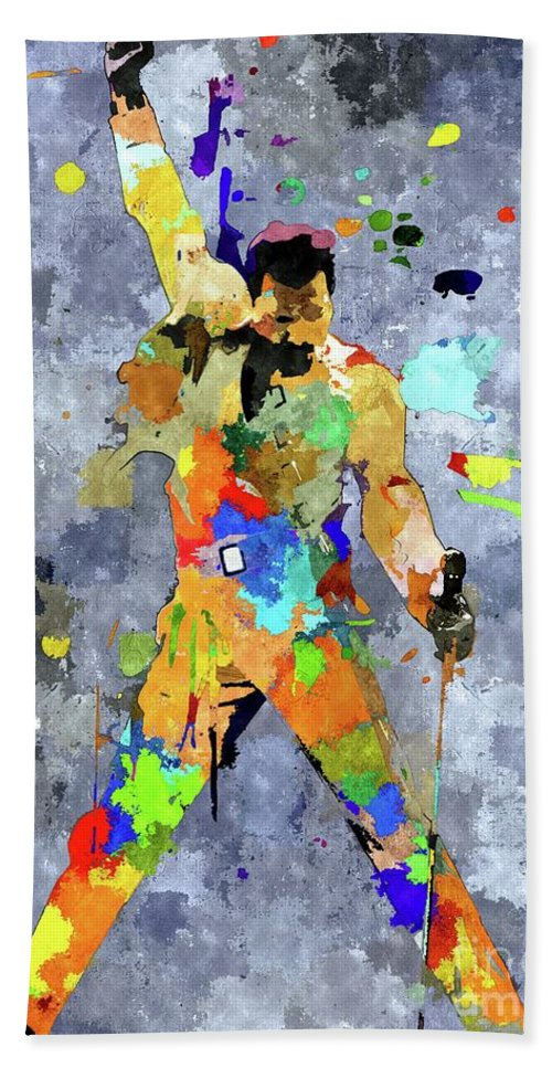 Freddie Mercury Bath Sheet featuring the mixed media Freddie Mercury by Daniel Janda
