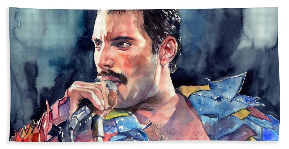 Freddie Bath Towel featuring the painting Freddie Mercury portrait by Suzann Sines
