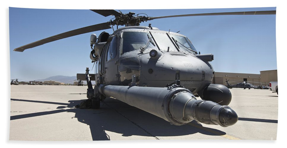 Exercise Angel Thunder Bath Sheet featuring the photograph Front View Of A Hh-60g Pave Hawk by Terry Moore