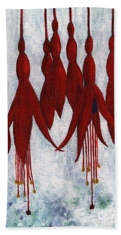 Fuchsia Hand Towel featuring the painting Fuchsia by Barbara Moignard