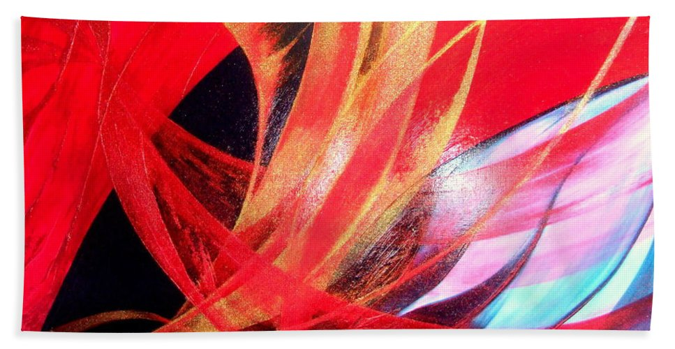 Fusion.passion Bath Sheet featuring the painting Fusion by Kumiko Mayer