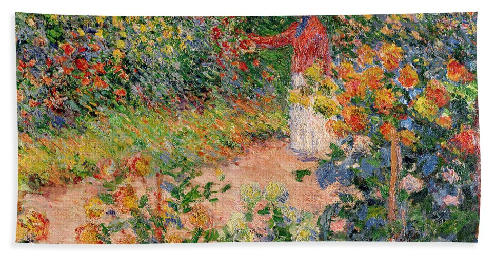 Garden Bath Towel featuring the painting Garden at Giverny by Claude Monet