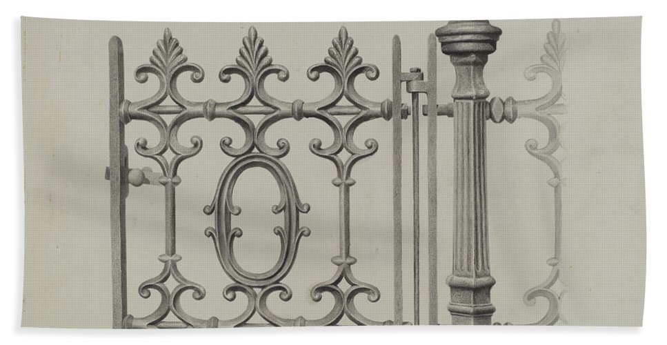Hand Towel featuring the drawing Gate And Gatepost by Jerome Hoxie