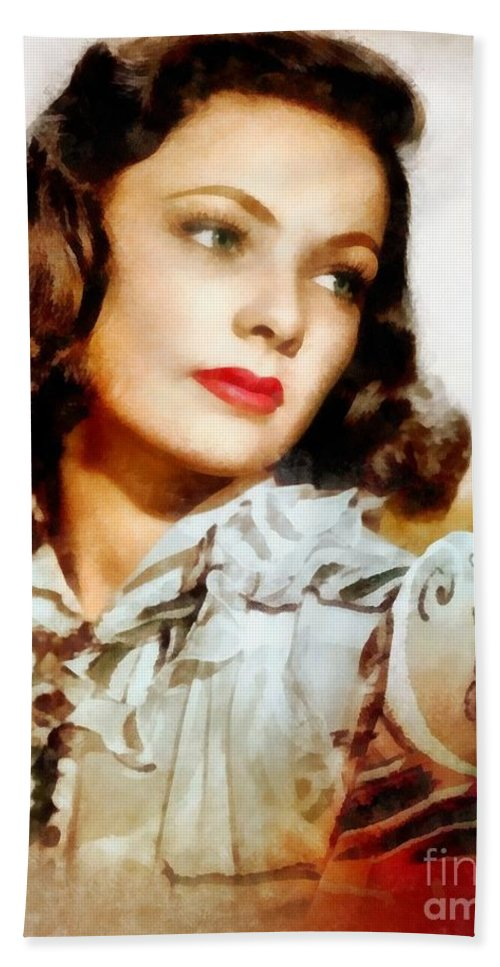 Hollywood Bath Sheet featuring the painting Gene Tierney Hollywood Actress by Frank Falcon