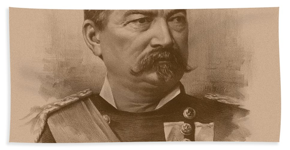 Civil War Bath Towel featuring the drawing General Philip Sheridan 2 by War Is Hell Store