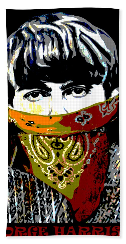 Banksy Bath Towel featuring the photograph George Harrison wearing a face mask by RicardMN Photography