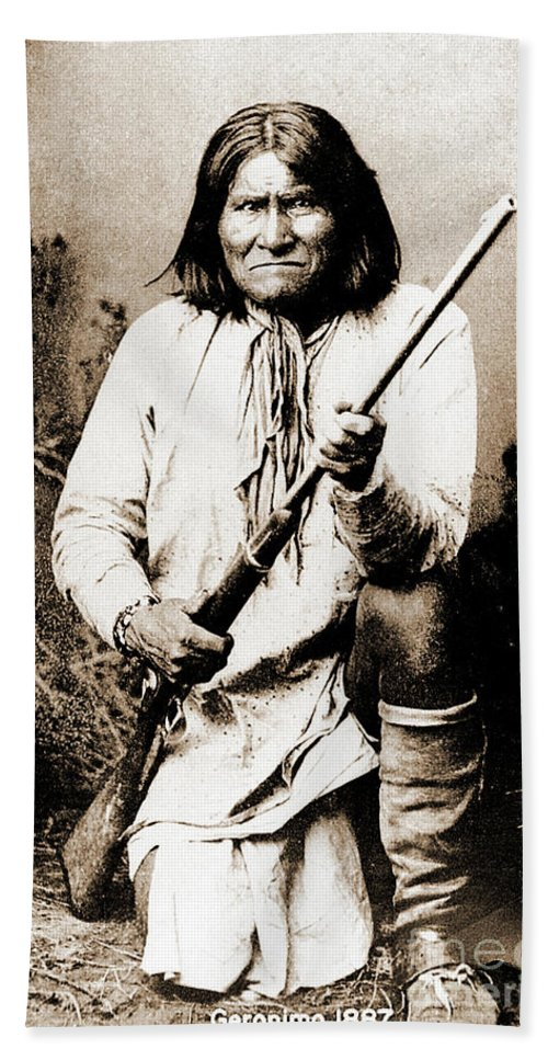 Native Hand Towel featuring the photograph Geronimo by Gary Wonning