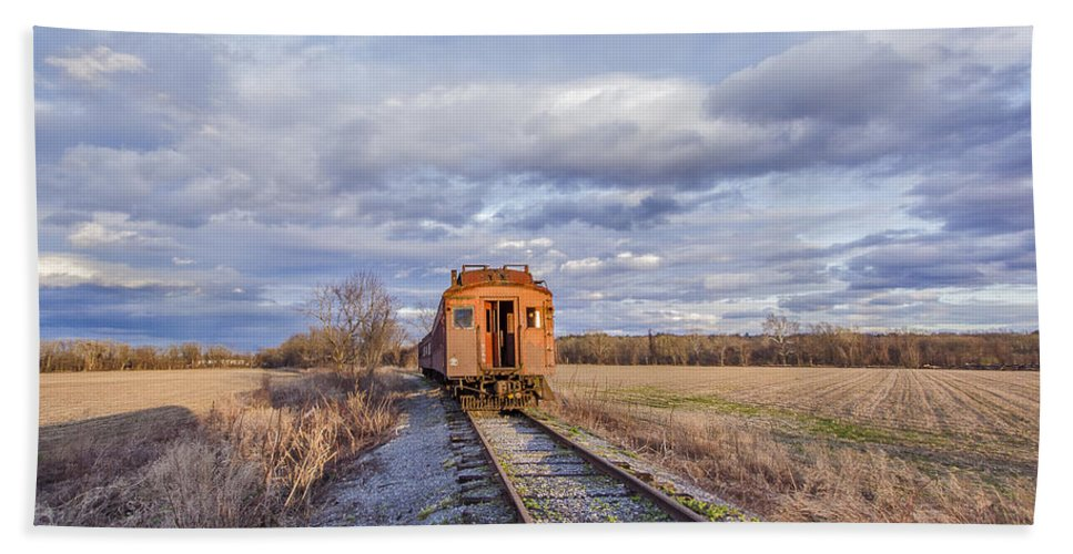 Catskill Railroad Hand Towel featuring the photograph Ghost Train by Rachel Snydstrup