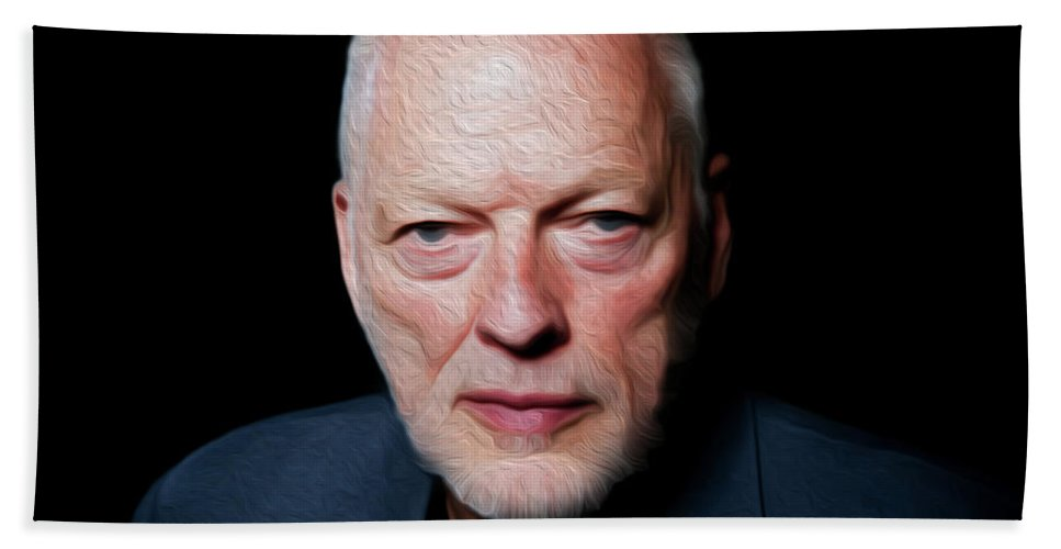 David Gilmour Hand Towel featuring the painting Gilmour By Nixo by Never Say Never