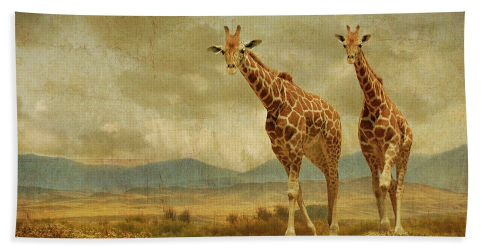 Giraffes Hand Towel featuring the photograph Giraffes In The Meadow by Guy Crittenden