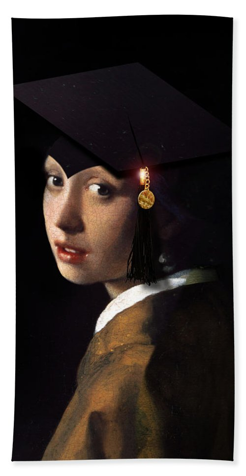 Vermeer Bath Sheet featuring the painting Girl With The Grad Cap by Gravityx9  Designs