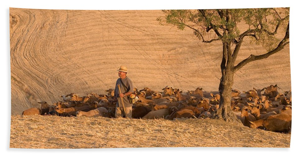 Goat Bath Sheet featuring the photograph Goatherd by Mal Bray