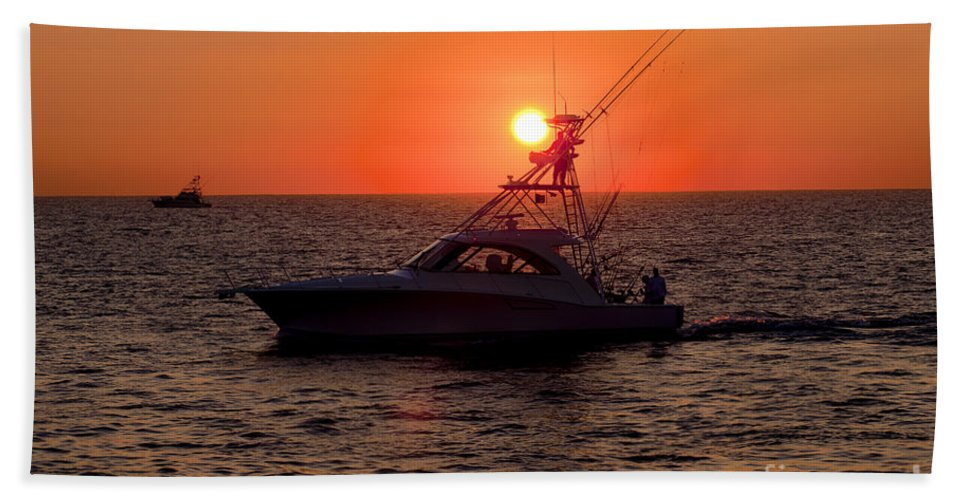 Fishing Bath Sheet featuring the photograph Going Fishing - Silhouette by Anthony Totah