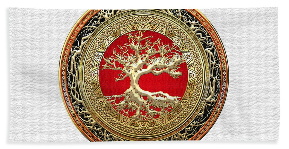 Treasure Trove By By Serge Averbukh Hand Towel featuring the photograph Gold Celtic Tree of Life on White Leather by Serge Averbukh
