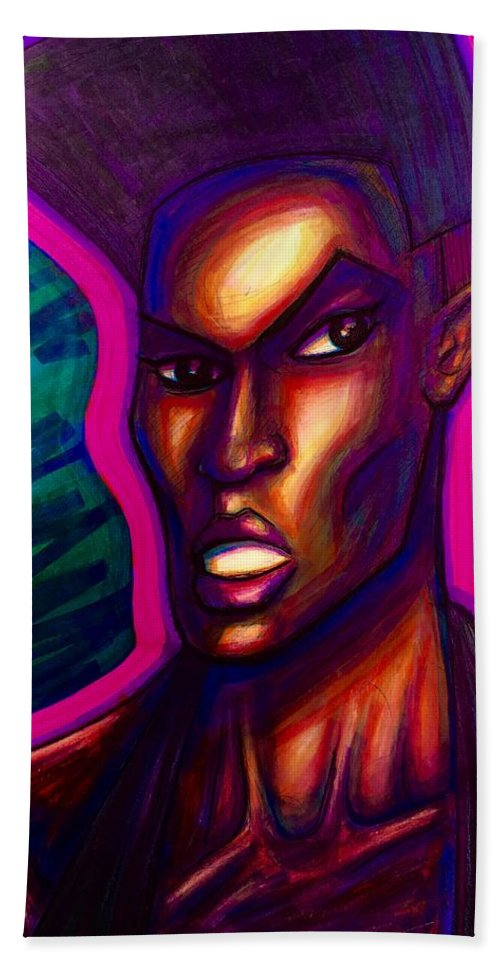 Bath Sheet featuring the mixed media Grace Jones by David Weinholtz