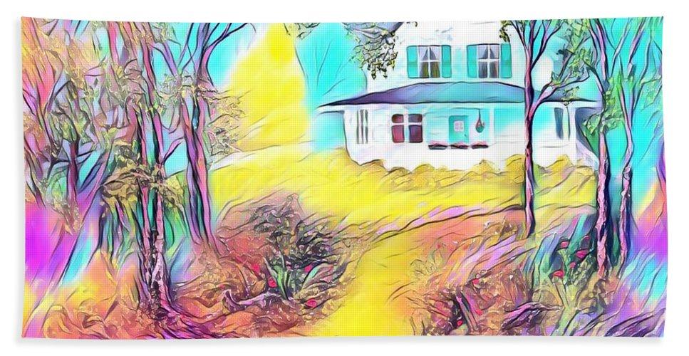 Grandma Hand Towel featuring the digital art Grandma's House by Michael Mrozik