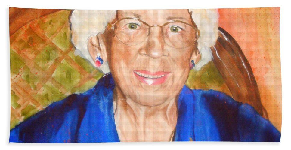 Portrait Hand Towel featuring the painting Granny by Jean Blackmer