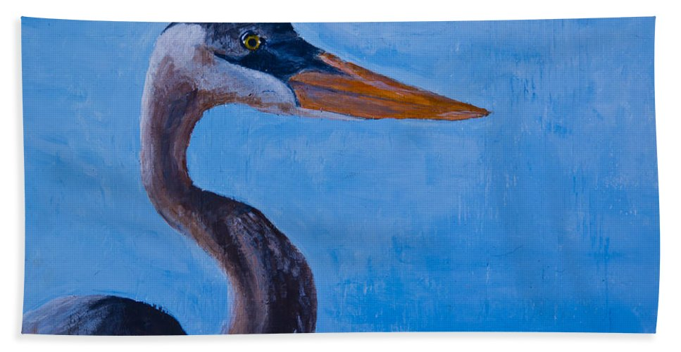 Heron Hand Towel featuring the painting Great Blue Heron by Roger Wedegis