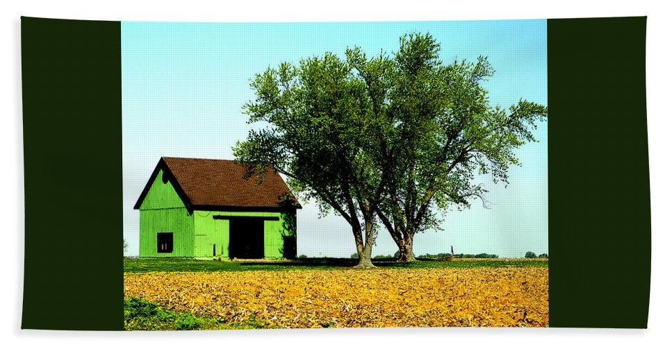 Green Bath Sheet featuring the photograph Green Barn by Harry Tart