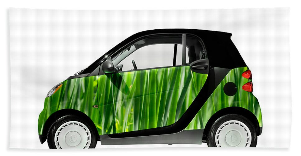 Smart Bath Towel featuring the photograph Green Mini Car by Maxim Images Prints