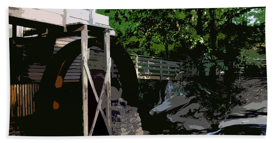 Grist Mill Hand Towel featuring the painting Grist Mill by David Lee Thompson