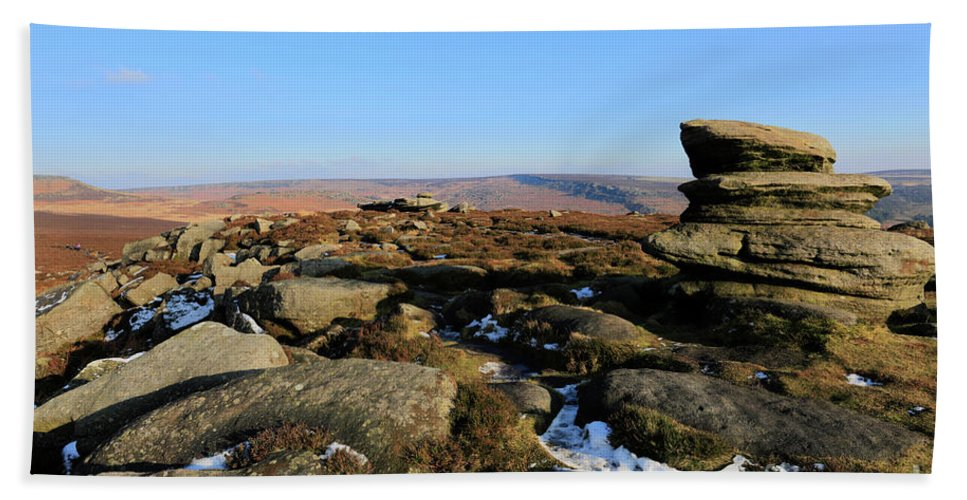 Gritstone Rocks Hand Towel featuring the photograph Gritstone Rocks On Hathersage Moor, Derbyshire County by Dave Porter